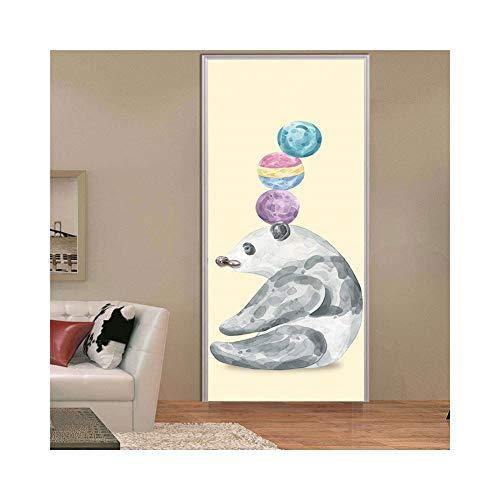 RenTong Niedlichen Tiere Tür Aufkleber 200 cm Tür Kunst Wandbilder Dekoration Panda Eisbär PVC Aufkleber für Kindergarten und Kinderzimmer (Color : 1, Size : One Size) (Halloween Panda Express)