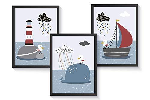 Kinderzimmer Poster maritim | A4 Kinderbilder | Kunstdrucke Deko Set | optional mit Rahmen | für...