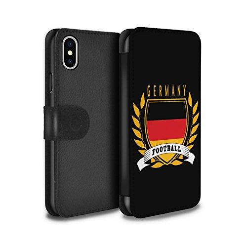 Stuff4 Coque/Etui/Housse Cuir PU Case/Cover pour Apple iPhone X/10 / Pays-Bas Design / Emblème Football Collection Allemagne/Allemand