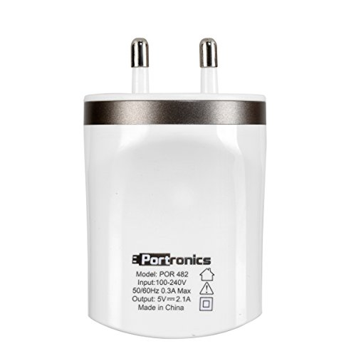 PORTRONICS 2.1 DUAL USB CHARGER (WHITE) For Mobile