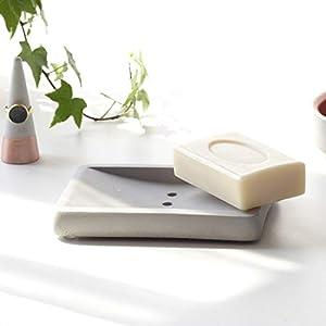 Atelier Ideco - Graue Seifenschale Aus Beton, Handgefertigte Seifenablage, Badzubehör Für Waschbecken Und Dusche-Ablage Für Seife
