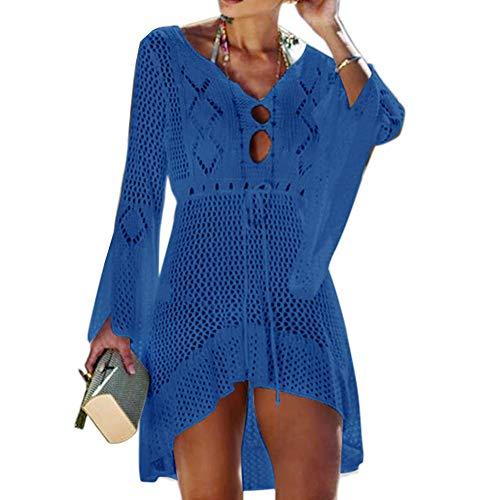 Tacobear Gestrickte Strandkleid Damen Sexy Bikini Cover Up Strandponcho Sommerkleid Sommer Bademode Strand Pareo für Damen (Saphirblau)