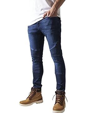 Urban Classics Slim Fit Biker Jeans, Blu Uomo