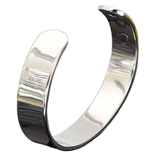 Holistic Magnets® Magnetarmbänder Herren Damen Kupfer Armband (Anlauffarbenfrei) Handgelenk Gelenkheilung Armreif Silber Getont Geschenkidee +Geschenkbox-SB (L: Handgelenk 19-21,5cm)