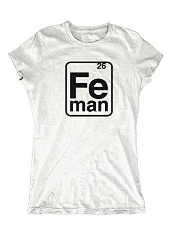 Artshirt-Factory Iron Man FE-Man Girlie-Shirt (L, Weiß)