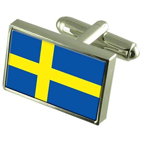 Schweden Flagge Sterling Silber Manschettenknöpfe im Feld Persönliche Gravur -
