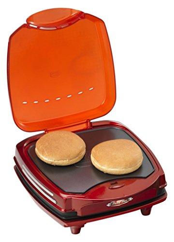 Ariete 185 Party Time - Macchina per hamburger, 1200 W, doppia piastra antiaderente, colore: rosso