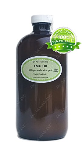 16 oz Glass Bottle Emu Oil Pure Moisturizing For Skin Hair Stretch Marks Refined