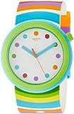Swatch Damen Analog Quarz Uhr mit Silikon Armband PNL100