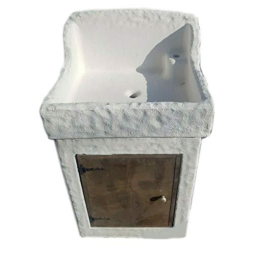 MONDO ARTISTICA Lavello lavatoio lavabo lavandino artigianale da giardino in cemento e polvere di marmo pietra con mobile lavorato a mano 49379 bianco made in Italy