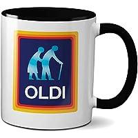 LBS4ALL Oldi Mug- Birthdays Christmas Funny Gift Presents Celebration Novelty Old Large Black Rim Handle Mug