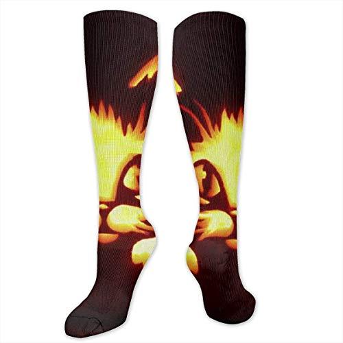 tten Pumpkin Lights Women&Men Socks Dress Socks Length 19.7in/Width 3.4in Polyester Material Knee High Socks Girls Socks Mid Stockings Personality Socks ()
