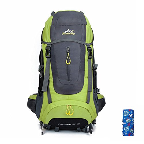 T & Y Unisex Bergsteigen Rucksack groß Kapazität Wandern Reisen Rucksack 60L + 5L grün - grün