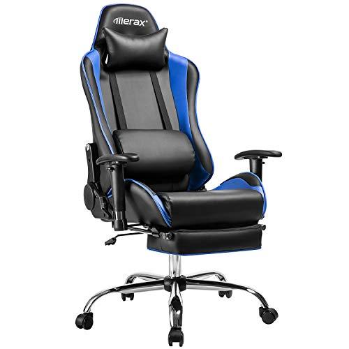 Merax Racing Stuhl Gaming Stuhl Chefsessel Ergonomisches Design Bürostuhl PU-Leder Drehstuhl Höhenverstellbarer Schreibtischstuhl mit Verstellbaren Armlehnen und Wippfunktion(Schwarz-blau)