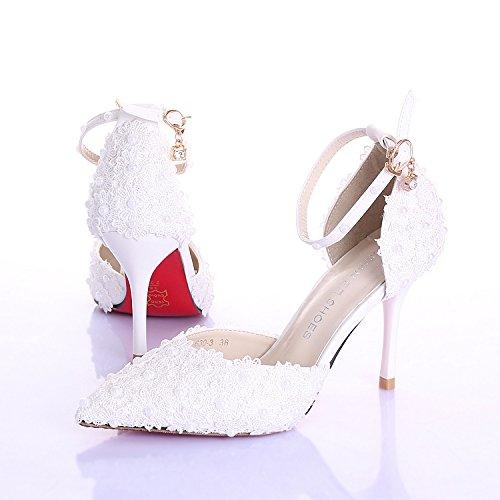 XIE Sscarpe da sposa donna / damigella d'onore e sposa / Fiore perla / tacco Stiletto / punta punta / sandali con tacco alto / scarpe da ballo bianco 9CM