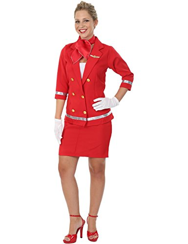 Sexy Stewardess Kostum Karneval In Rot Mottoparty Verkleidung Damen