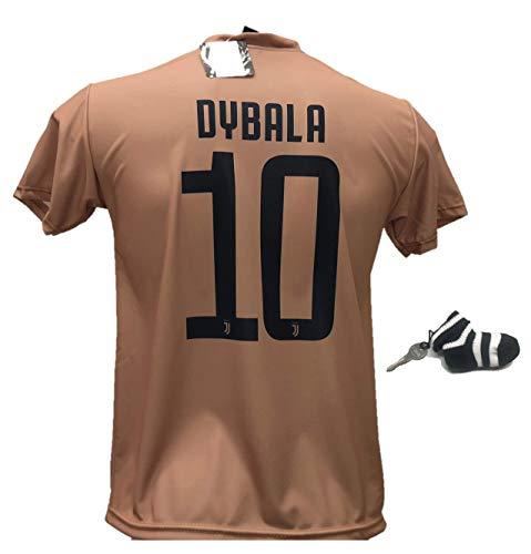 Seconda maglia calcio juventus dybala 10 replica autorizzata 2018-2019 taglie da bambino e adulto con in regalo calzino portachiavi bianconero (12 anni)