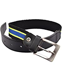 CrayonFlakes Children's Buckle Belt Green Stretchable Canvas & Black PU Leather