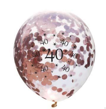 zeit Ballons 10 Stück / 30 cm Latex Konfetti Ballon Party Dekoration Zubehör für Rubin Hochzeit Geburtstag Jahrestag, Latex, Rose Gold Confetti Balloons, 30 cm ()