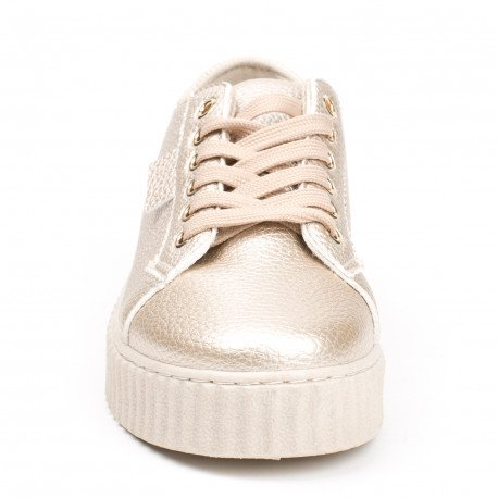 Ideal Shoes - Baskets nacrées style creepers Coraline Doree