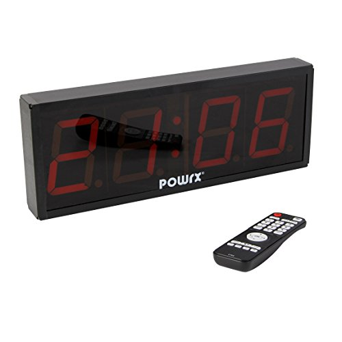 POWRX Timer 4 Stellen LED | Time Board | Count Down - Up Timer | Stoppuhr | 43 x 16 x 5 cm | Count Up | Uhrzeit | Intervall Timer