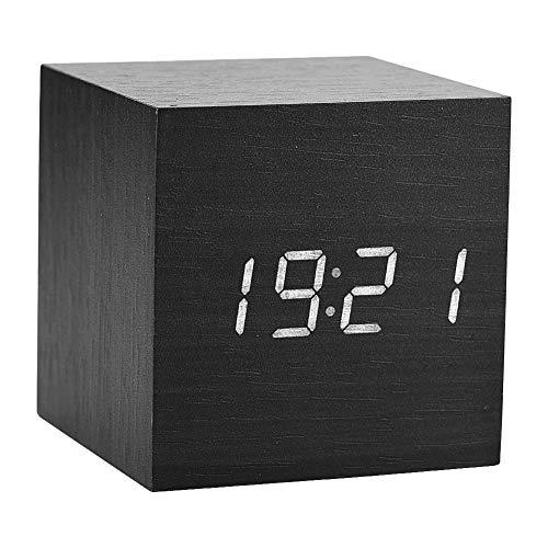 Tihebeyan Digitaler Wecker mit Holzkiste LED Bildschirm Temperaturanzeige mit Alarm für Schlafzimmer, 3 Stufen Helligkeit einstellbar, 6 × 6 × 6 cm(Schwarz)