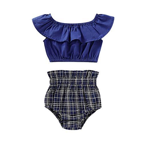 Zegeey MäDchen Kleinkind Baby Bekleidungssets RüSchen Oberteile T-Shirts Tee Blusen Plaid Shorts Outfits Set Geburtstag Geschenk(Blau,80-90cm) - La Plaid Tee