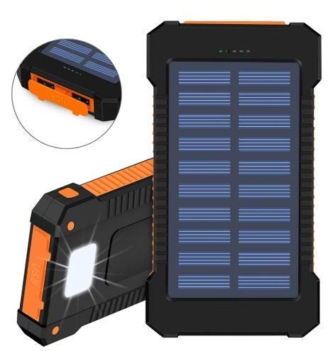 Buy Heruz 10000mAh Solar Power Bank Dual USB Solar Panel Portable Battery Charger Solar Power Bank with Led Light with Water Resistant. online in India at discounted price
