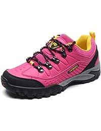 Unisex - Erwachsene Wanderschuhe Gummi Sohle Trekking Sportlich Klassische Strapazierfähig Anti-Rutsch Abriebfest Dämpfung Entspannt Niedrig Outdoorschuhe Grau Pink 37 EU