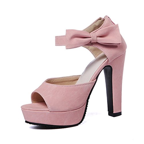 Aisun Damen Schleife Peep Toe Plateau Zipper Sandale Pink