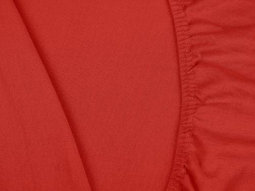 npluseins klassisches Jersey Spannbetttuch - erhältlich in 34 modernen Farben und 6 verschiedenen Größen - 100% Baumwolle, 90-100 x 200 cm, rot - 5