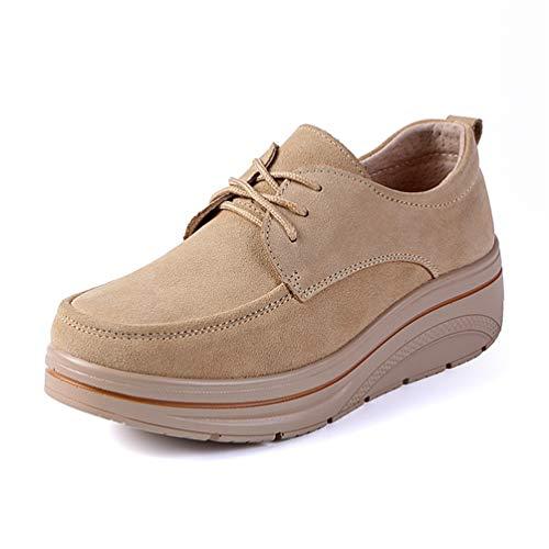 JRenok Frauen Schuhe Flache Müßiggänger Plattform Kuh Wildleder Frühling Herbst Damen Mokassins Weibliche Keile Sneakers