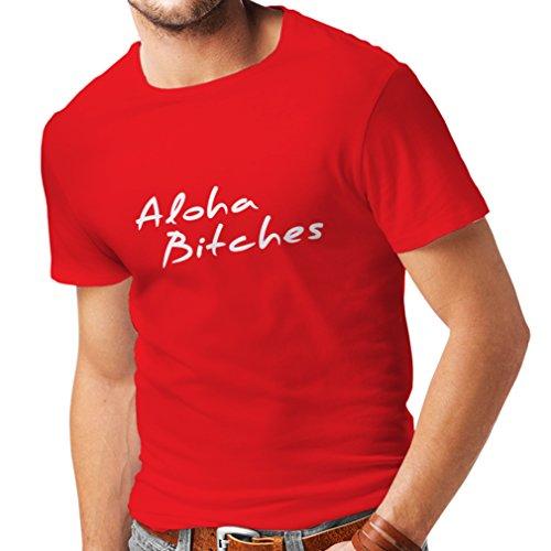N4310 Männer T-Shirt Aloha Bitches (Large Rot Weiß)