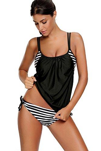 Azue Damen Zweiteilig Tankini Bauchweg Badeanzug Sportlich Beachwear mit Bikinislip Schwarz und Weiß Streifen EU 40-42