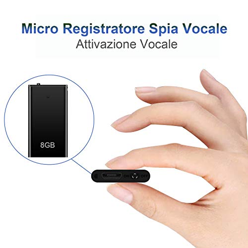 Mini Spia Registratore Vocale H+Y con Attivazione Vocale, Memoria da 8GB, Ricaricabile USB e funzioni MP3, Ideale per Lezioni, Riunioni, Interviste, Fino a 96 o