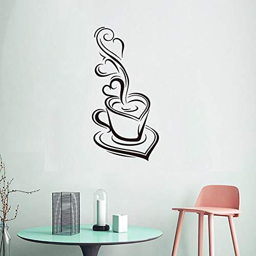 Wandaufkleber Kaffeetasse Wandaufkleber, Esskultur Aufkleber, Essküche Dekoration Aufkleber 40 X 20 Cm Schwarz