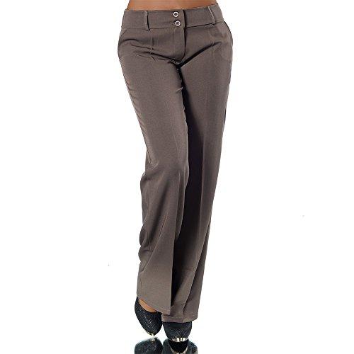 H324 Damen Business Stoffhose Elegante Bootcut Hose Classic Schlaghose Schlag, Farben:Coffee;Größen:44 XXL (Etikett T6)