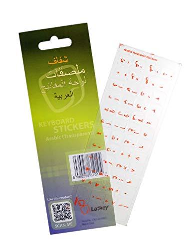 Arabischer Tastatur-Aufkleber für Mac, PC Computer, Laptop, MacBook (Tastatur Aufkleber mit dem roten Buchstaben auf transparenten Hintergrund klar, beste Tastaturabdeckung Alternative zu lernen Arabisch)