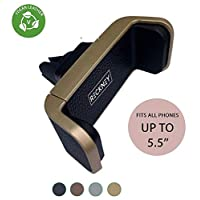 RECKNEY Car Phone Holder, Air Vent Cars Mount 360° Rotation One Hand Operation Mounting Car Phone Cradle for iPhone XS/X/8/7/7 Plus/6s Plus/5S/HTC Huawei P20 Pro/P30 Samsung Galaxy S8,S9,S10 (Gold)