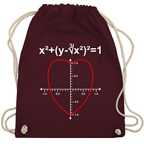 Mathematik Kostüm - Valentinstag - Mathe Herz - Unisize - Bordeauxrot - WM110 - Turnbeutel & Gym Bag