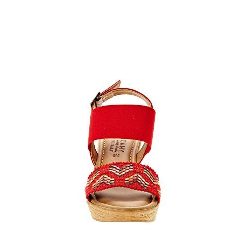 Easy Street Sanremo Femmes Large Toile Sandales Compensés Red-Multi