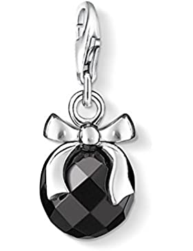 THOMAS SABO Damen Charm-Anhänger 0868-023-11 Charm Anhänger 925er Sterlingsilber Obsidian Facettiert Silberfarben...