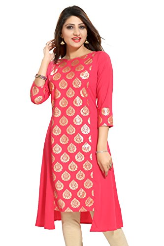 ALC Creation Women's A-Line Kurta (ALC4007N_Peach_large)