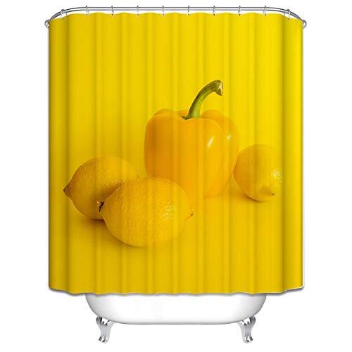 Beydodo Bad Vorhang für Badezimmer Paprika Zitrone Lustiger 3D Duschvorhang Antischimmel 150x200 cm