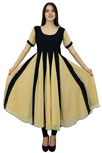 Bimba Classic schicke Designer-Kleid lang Georgette Kurta Schlaghosen Zick-Zack Party tragen Kurti (Kurta Georgette)