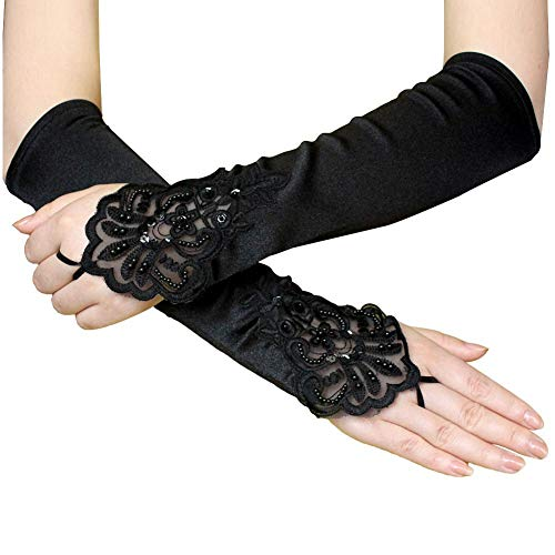 iBaste Spitzenhandschuh der 1920er Jahre Zubehör Flapper Kostüm Fingerlose Handschuhe für Frauen Roaring 20's Accessories Klassische Satin ()