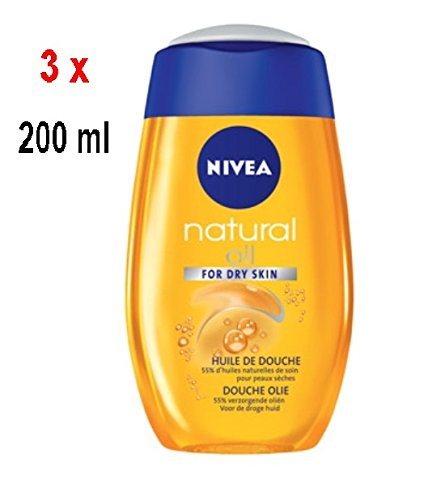 3 x NIVEA Natural Oil Duschöl - für trockene Haut - 200 ml