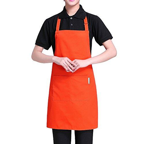 Delantal de Cocina de Poliéster con Tira de Cuello Ajustable y 2 Bolsillos para Hornear Jardinería Restaurante Barbacoa para Hombres y Mujeres de Esonmus (Naranja)