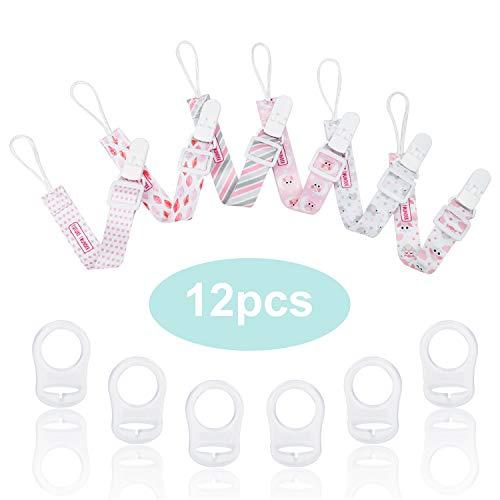 Schnullerband Baby mit Silikonring für Schnuller Schnullerketten clip rosa für Lätzchen Dreieckstuch Sauger Adapter für Schnuller für Junge Mädchen von FUTURE FOUNDER
