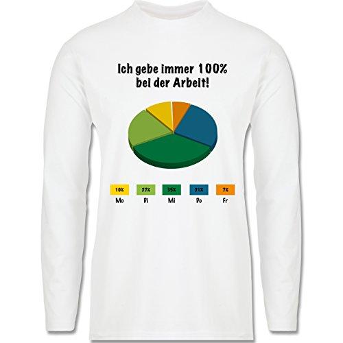 Sprüche - Ich gebe bei der Arbeit 100 Prozent - Longsleeve / langärmeliges T-Shirt für Herren Weiß
